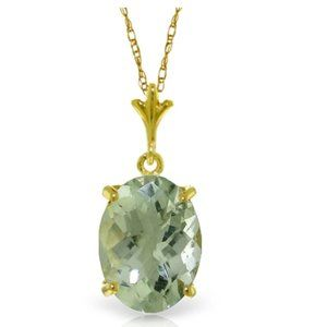 3.2 Carat 14K Gold Places Green Amethyst Necklace